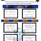 "HALLOWEEN FUN FACTS QUIZ * WHAT A COOL ""EXTRA"" FOR HALLOWEEN~!!! We know they all LOVE Halloween, but how much do they really KNOW about it?? * 13 trivia questions all dealing with the celebration and origination of Halloween. A different FUN activity for you and the kids just before they go trick-or-treating. Decorated for fun!"