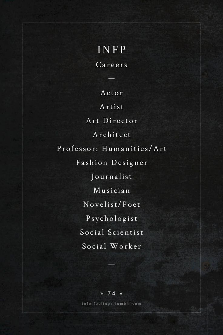 INFP Careers. Perfect. Most of these I want to pursue. :) finding out my personality type makes everything in my live 4 gazillion times more understandable