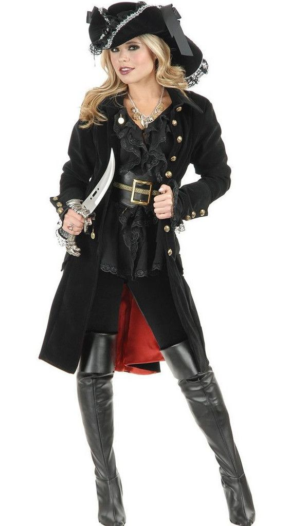 black punk Pirate Captain Costume women adult party cosplay halloween costumes for women pirate costume women y hat - Alternative Measures -  - 1
