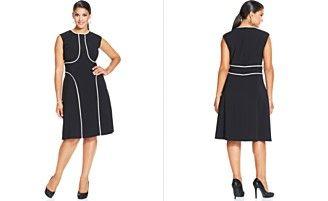 London Times Plus Size Cap-Sleeve Contrast-Trim Dress