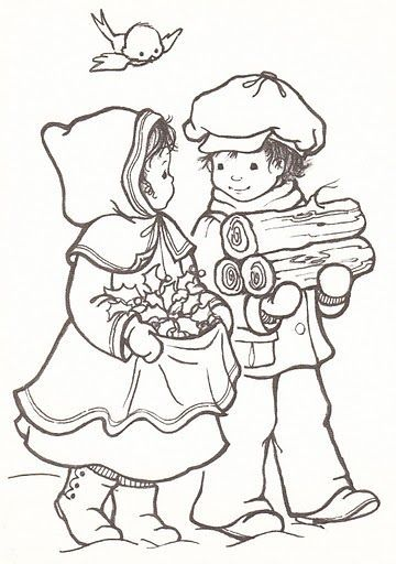 coloring page vintage christmas children - Google Search