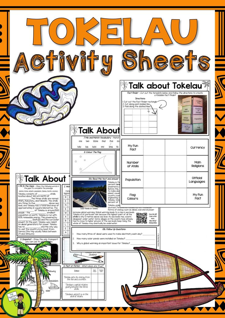 Help your students to learn about the Pacific island of Tokelau with our three-page activity sheet. It features eleven activities, and is ready to PRINT and GO! This would be perfect to use during Tokelau Language Week: Monday 23 October – Sunday 29 October 2017. #pacific #Tokelau #LaptnguageWeek