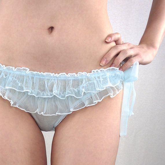 Sheer ruffled panties- blue pale baby robin's egg blue ruffle knickers, see-through bloomers frilly knicker panty side tie sheer see through