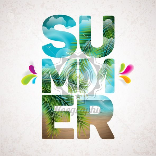 Vector Summer Holiday typographic illustration with tropical plants, flower, beach and ocean landscape on vintage  background. - Royalty Free Vector Illustration