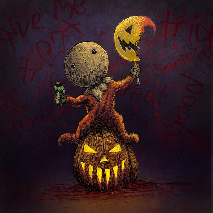 Artwork inspired by the awesome horror movie Trick 'R' Treat!  halloween, sam, trick r treat, horror, pumpkin, scary, monster, evil, slasher, horror movie, scary movie, trick or treat, boo, spooky, bloody, creepy, jack o lantern, splatter