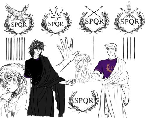 SPQR tattoos of Jason, Percy, Frank, and Renya also TOGAS!!