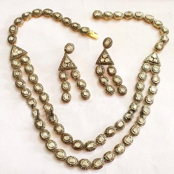 Designer Rose Cut Polki Diamond Necklace Earrings set