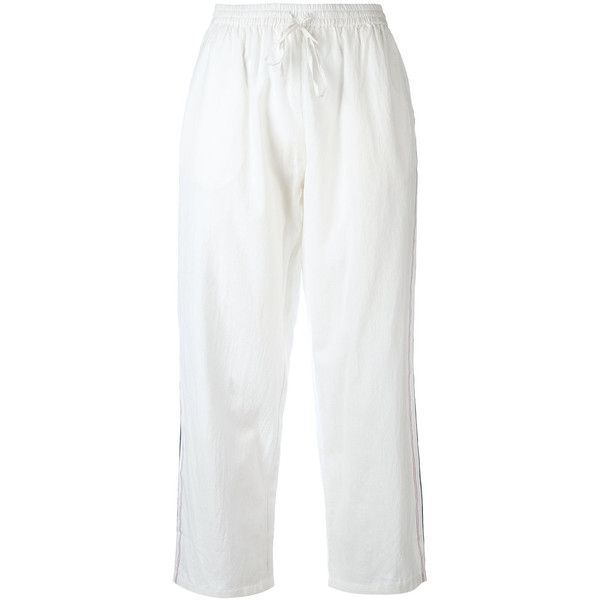Mes Demoiselles Cropped Trousers ($188) ❤ liked on Polyvore featuring pants, capris, white cotton pants, cotton crop pants, cotton trousers, white pants and white crop pants