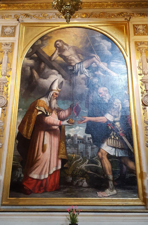 Brescia: San Clemente Re Melchisedek offre il pane e il vino ad Abramo 1550 Moretto