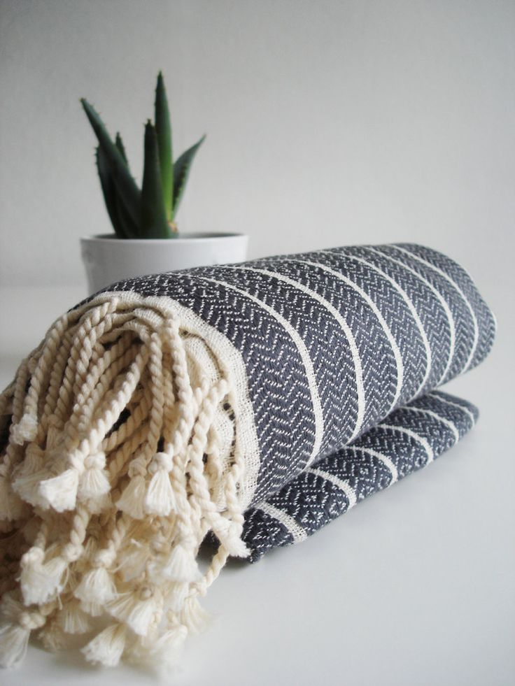 Turkish BATH Towel Peshtemal - Natural Cotton - Dark Gray. $26.00, via Etsy.
