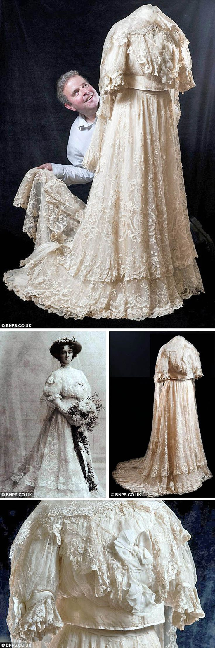 1908 Wedding gown: Silk with Brussels lace and silk bow on bodice. Two-tier skirt with scalloped hems. Lined in satin with a border of tight concertina pleats. Train. (Shirtwaist would never have been worn untucked like this.) Worn by Ethel Dalziel for her marriage to H. Roland Cooper. Ethel's granddaughter tried to donate it to a museum, but none wanted it! It was auctioned off by Duke's in 2012. Via Daily Mail.