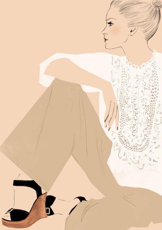La blouse en broderie anglaise et les sandales compensées de Phoebe Philo - printemps-été 2006