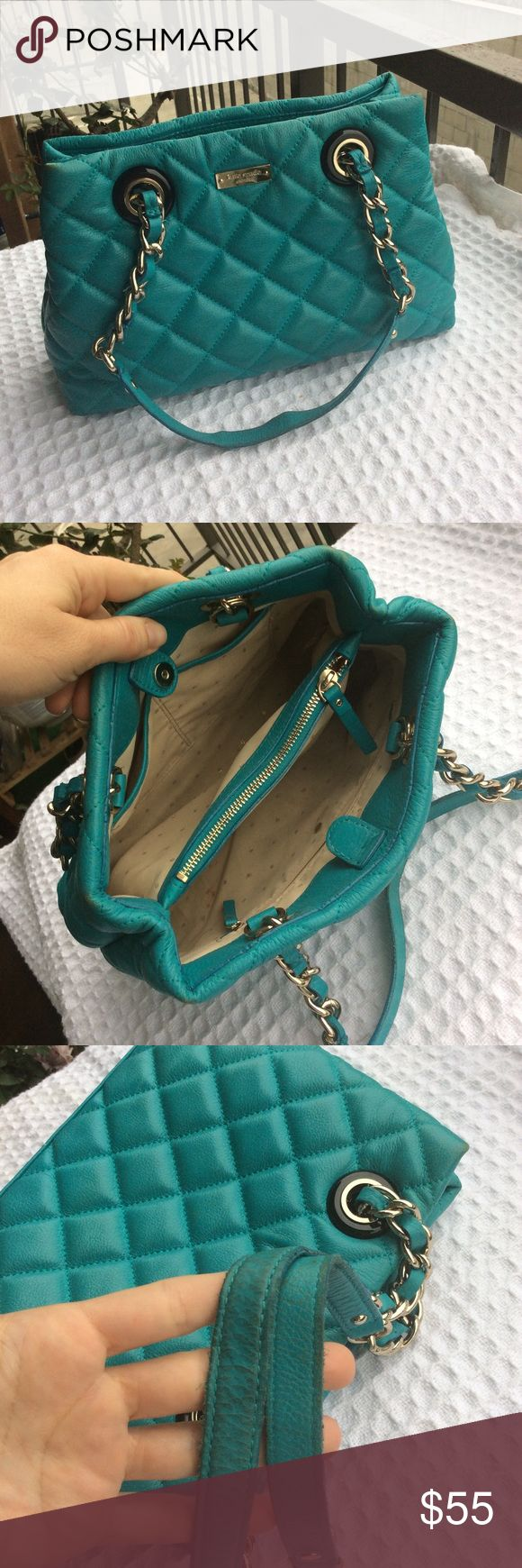 """Kate Spade ♠️ Turquoise quilt shoulder bag Turquoise quilt leather chain strap detail, the bag is in great condition inside , outside needs touch up on the corners,strap and maybe body , measures : 12"""" L x 8.5"""" H x 3.5"""" , strap drop 7.5"""" kate spade Bags Shoulder Bags"""