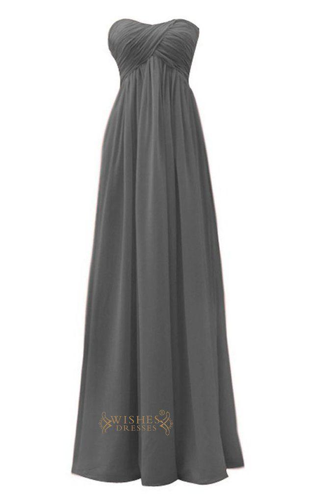 Empire Strapless Sweetheart Grey Floor Length Bridesmaid Dress Am26
