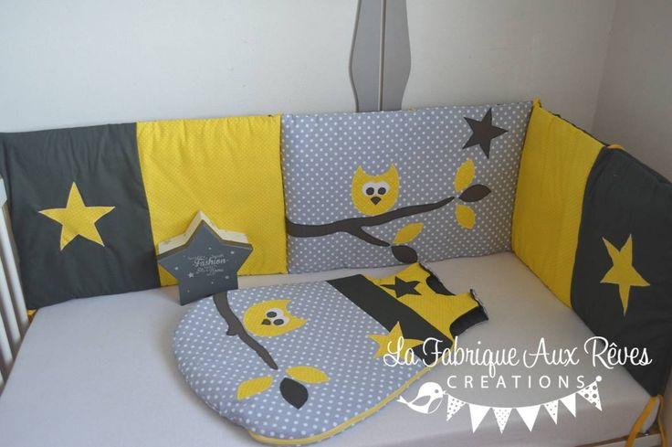 DISPO DE SUITE - Ensemble tour de lit + Gigoteuse turbulette 0-6 mois hibou étoiles jaune gris : Linge de lit enfants par la-fabrique-a-reves