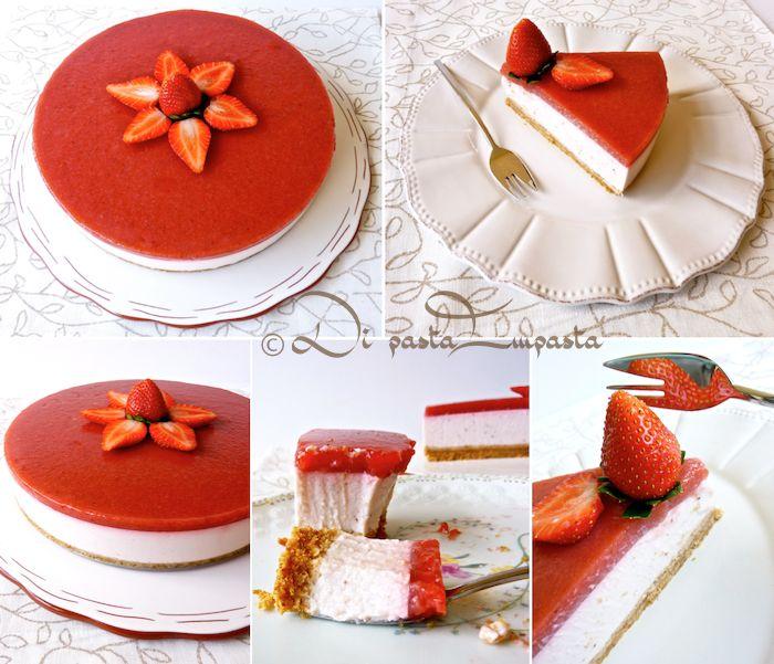 Cheesecake alla fragola con fruttosio e agar-agar... senza panna