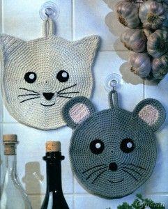 maniques au crochet tricot