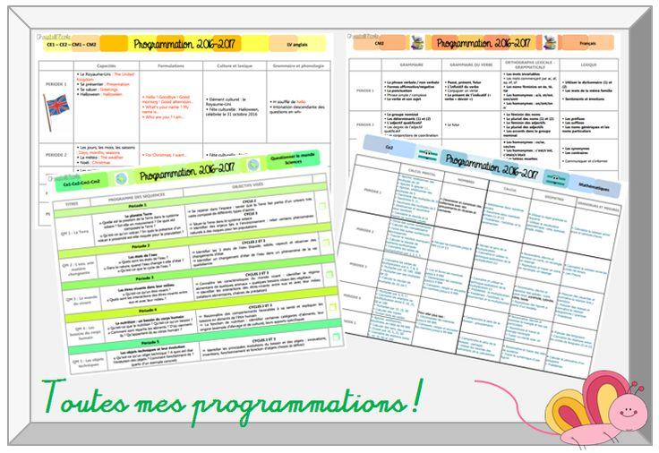 Toutes les programmations pour l'année scolaire 2016/2017 disponibles au format modifiable