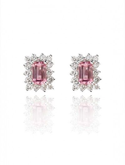 White Gold Pink Sapphire & Diamonds Cluster Stud Earrings - Available at Onyx Goldsmiths
