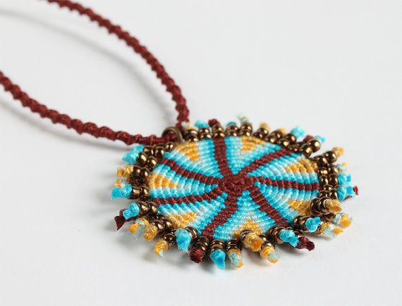Ethnic macramè spiral necklace geometric brown by KnottedWorld, €20.00
