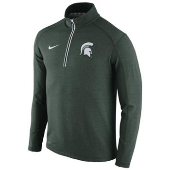 Nike Michigan State Spartans 2015 Football Coaches Sideline Half-Zip Tri-Blend Performance Knit Top–Green