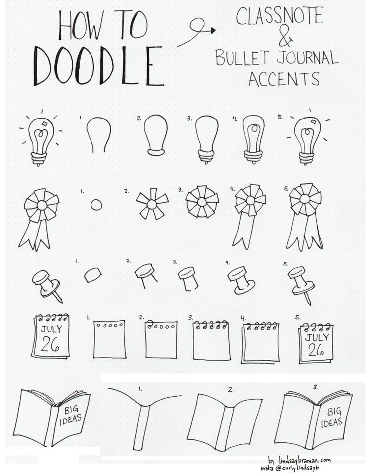 Doodles: Lamp, Lintje, Punaise, Kalender, Boek