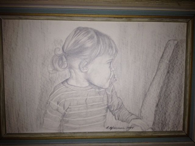 Drawing of A.C. Efverman as a 2 year old - by A.C. Efverman. Swedish crime fiction author and artist.