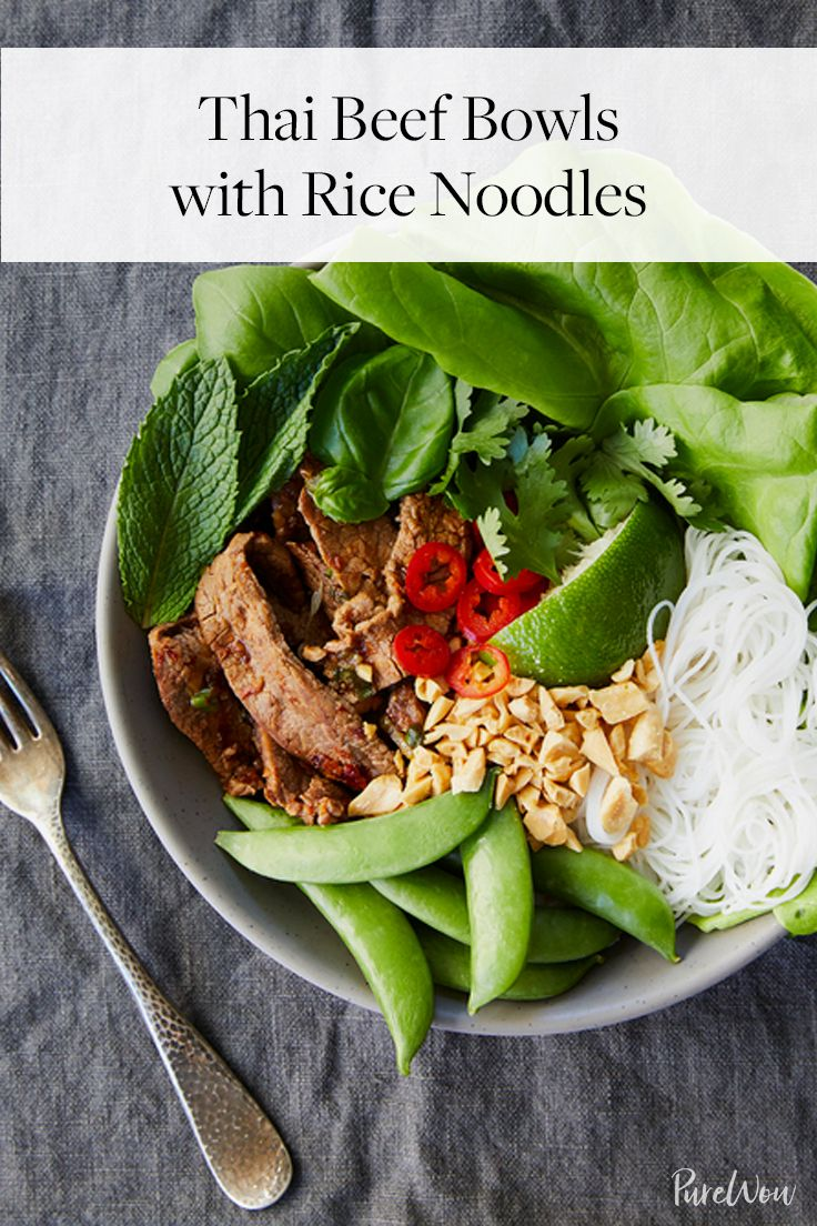 Thai Beef Bowls with Rice Noodles via @PureWow