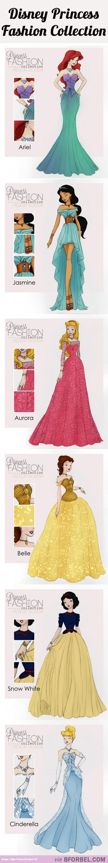 6 Disney Princess Fashion Collections…Jasmines dress is really cute! Snow's too!!
