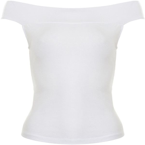 White Bardot Top ❤ liked on Polyvore