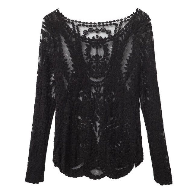 VESTLINDA Spring Autumn Lace Blouse Shirt Casual Round Collar Long Sleeve White Sexy See Through Black Lace Blouses Women Tops