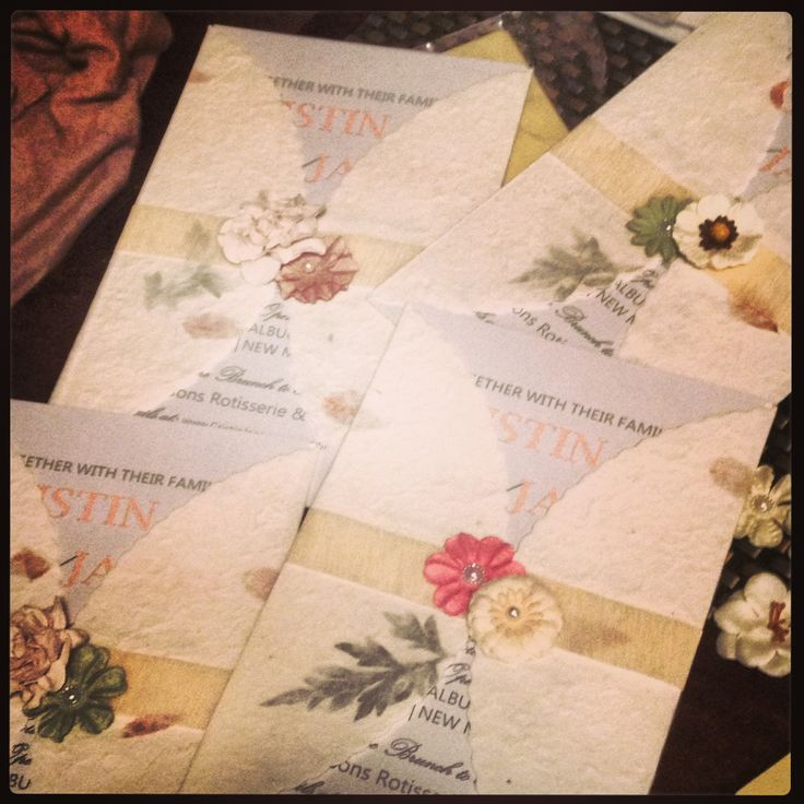 My Homemade Wedding Invitations  I Loved How Each One Was Different! I  Found The Paper Wraps At Party City And The Paper Flowers And Gauzy Ribbon  At ...