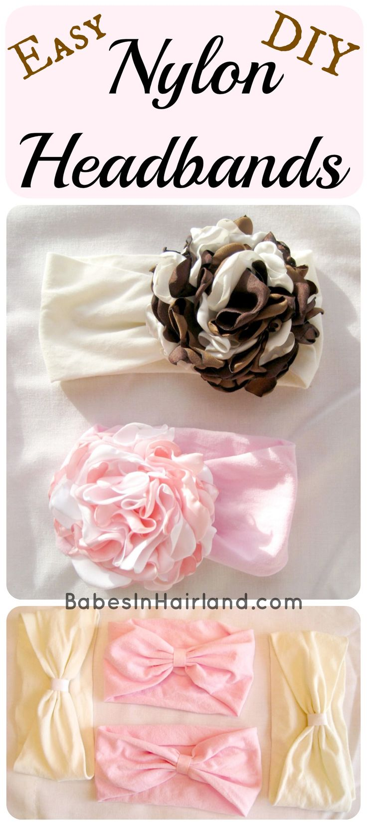 Easy DIY headbands from tights - great way to upcycle tights with holes or tights baby girl grows out of!