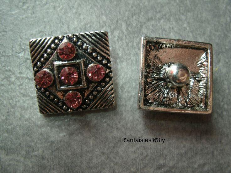(BCK11) Un bouton pression carré Chunk ethnique argenté & rose strass 18mm : Boutons par fantaisies-n-diy