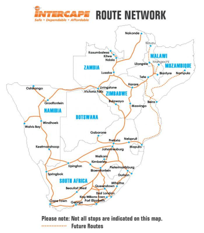Intercape bus Route Map & Stops