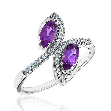 Amethyst and Diamond Bypass Ring 1/10ctw