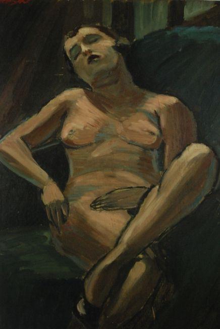 Akt Art Deco, olej na sklejce , lata 30.XX wieku, sygn. 92 X 65 cm ! Jules Leydier, ecole agricole