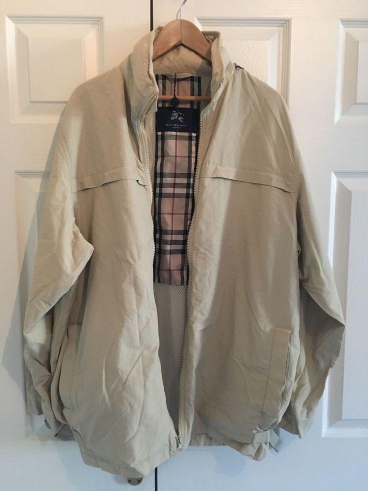 Burberry London Mens Large Jacket Waterproof Check Hooded Coat Mac Anorak Beige    eBay