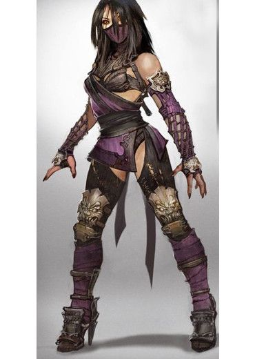 """High end Mileena MK cosplay costume with accessories and shoes Made of leather, velvet and oxhide; painted additionally for authenticity The """"Costume only option"""" includes: - bustier made of oxhide -"""