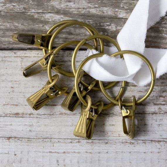 Brass Curtain Rings Set Of 6 Soviet Vintage Metal Hooks Large