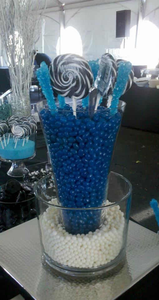 One of my favorite Candy displas. I loved the blue, black and white color scheme for this corporate event