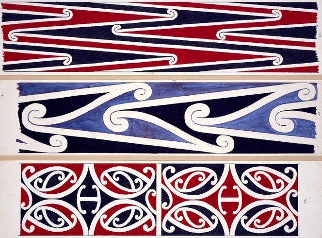 Williams, Herbert William 1860-1937 :Designs of ornamentation on Maori rafters. Nos. 22, 23, 24 [1890s]