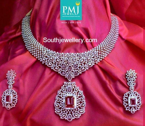 diamond_necklace_earrings_set