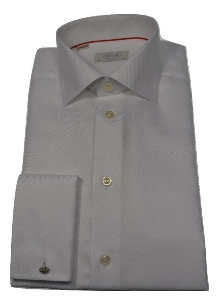 Eton white Twill French cuff Shirting.  Available @ tomvespa.com.au