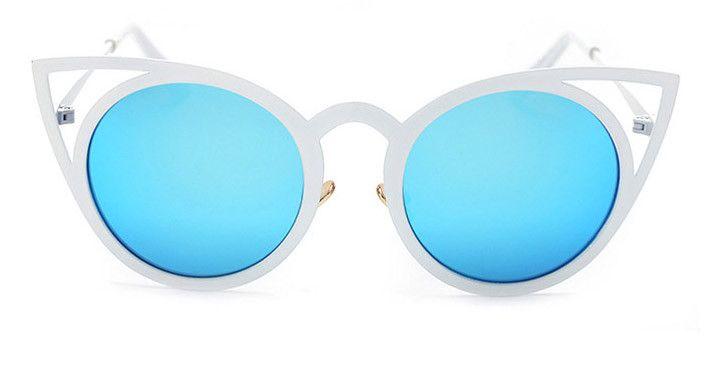 BOUTIQUE Newest Fashion Women Round Cat eye Sunglasses UV400 High Quality Metal Frame Colorful Glasses Oculos De Sol