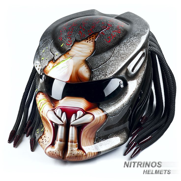 Original Predator helmet — is a unique development of Nitrinos Company. Predator Helmet is a combination of fantastic design and full characteristics of a motorcycle helmet. Each Predator helmet is produced by hand from composite materials and with necessary kevlar armoring in order to get a high strength. We have developed a dual-channel, regulated ventilation system for convenient helmet exploitation. Also, Predator helmet has quick replaceable visors – light, dark and mirrorlike.