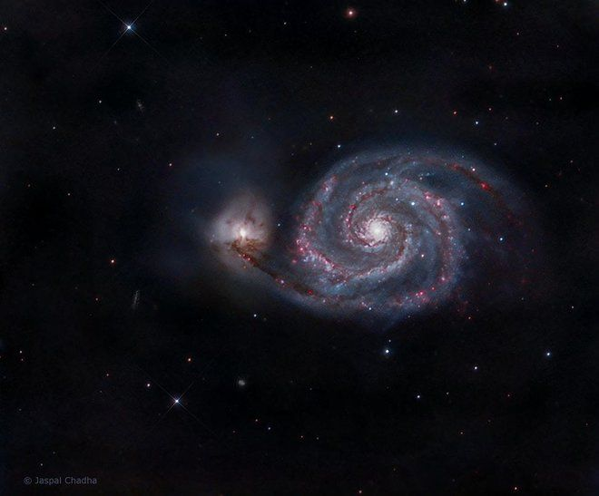 Whirlpool Galaxy Glows Purple and Blue in Amateur Photo