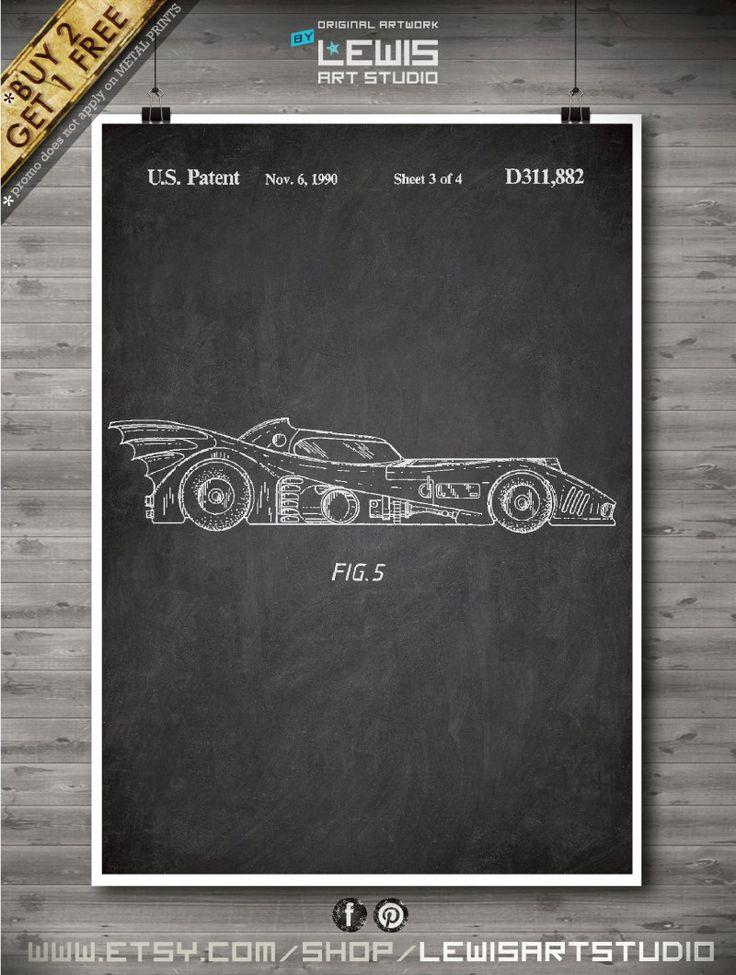 Batmobile poster, Batmobile patent, Batmobile print, Batmobile Art, Geek Art Design no87