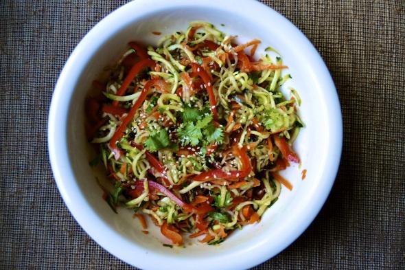 Yummy! Raw Zucchini Salad with Sesame Ginger Sauce
