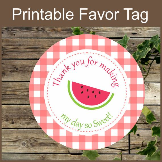 Watermelon Favor Tag Instant Download Birthday Party By